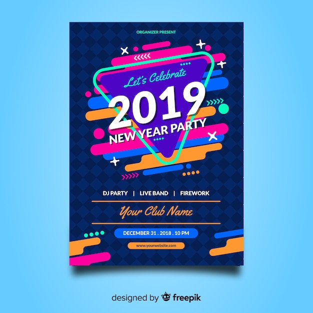 Manifesto variopinto del partito del nuovo anno con progettazione astratta Vettore gratuito
