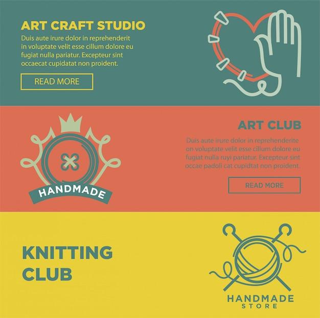 Manifesto variopinto di vettore del mestiere di arte e del logotypes fatto a mano del club Vettore Premium