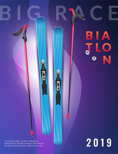Manifesto verticale colorato viola realistico biathlon grande gara biathlon titolo e sci Vettore gratuito