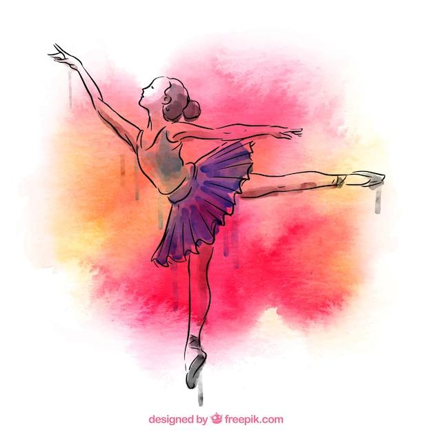 Mano ballerina disegnato con acquerello spruzzi for Ballerine disegnate