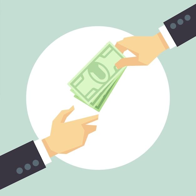 Mano che dà soldi. donazione, beneficenza, concetto di pagamento. corruzione e donare il concetto Vettore Premium