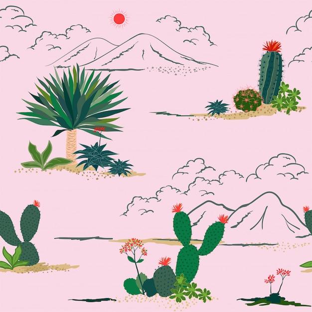 Mano che disegna il modello senza cuciture delle piante succulente e del cactus Vettore Premium