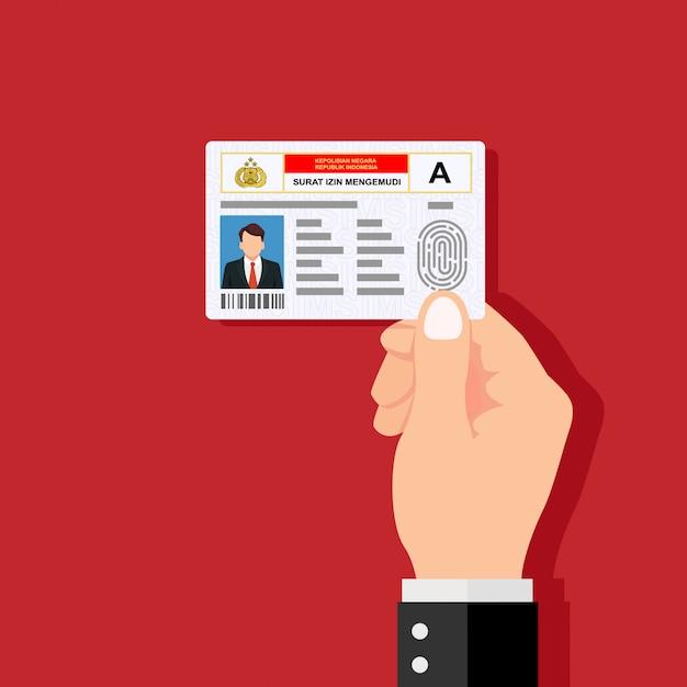 Mano che regge la carta d'identità. design piatto illustrazione vettoriale. Vettore Premium