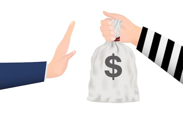 Mano che respinge la borsa dei soldi dalla mano del ladro Vettore Premium