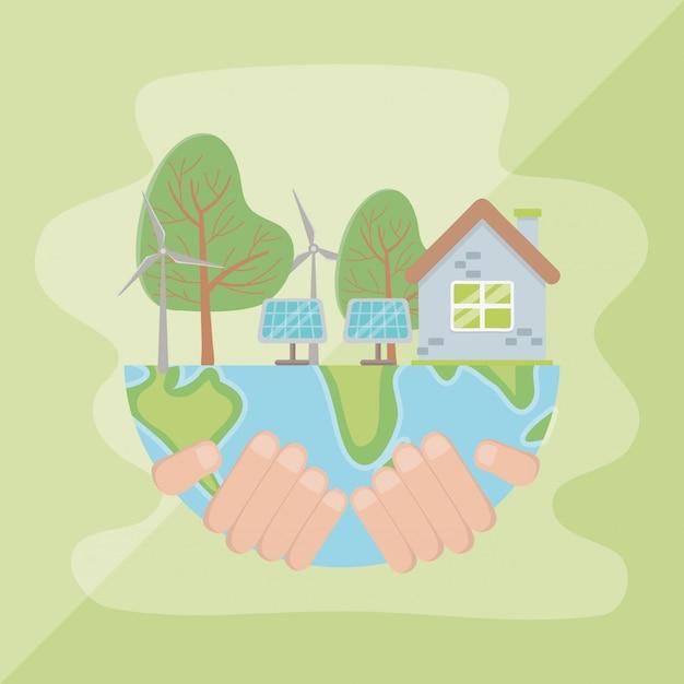 Mano che tiene il pianeta e salva la progettazione energetica Vettore Premium