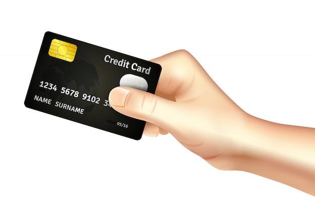 Mano che tiene l'icona della carta di credito Vettore gratuito
