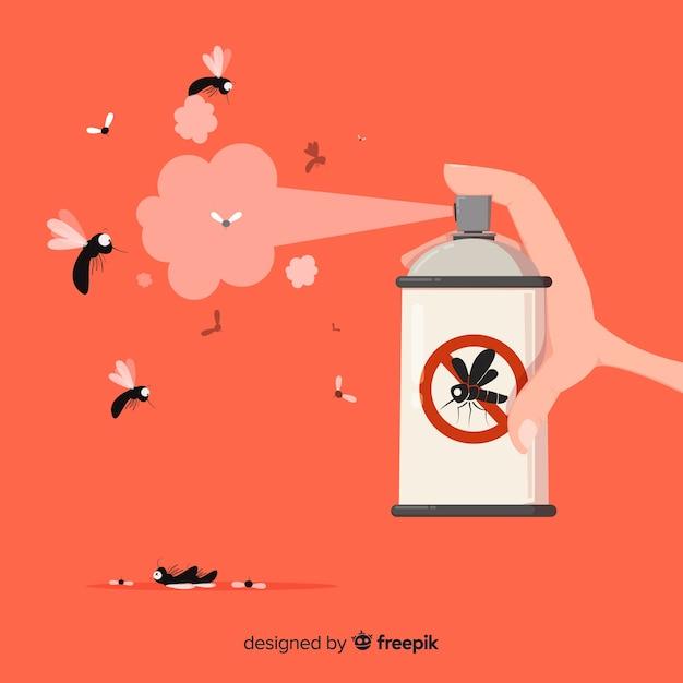 Mano che tiene spray di zanzare in stile piano Vettore gratuito