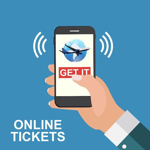 Mano che tiene un telefono cellulare. acquista i biglietti aerei concetto online. Vettore Premium