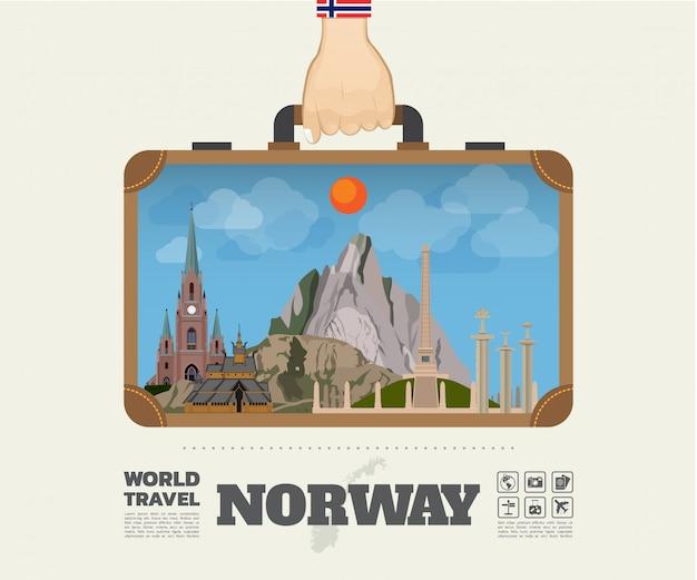 Mano che trasporta la borsa globale di infographic di viaggio e di viaggio del punto di riferimento della norvegia. Vettore Premium