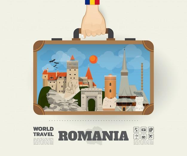 Mano che trasporta la borsa globale di infographic di viaggio e di viaggio del punto di riferimento della romania. Vettore Premium