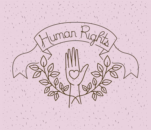 Mano con cuore disegnato per i diritti umani Vettore Premium