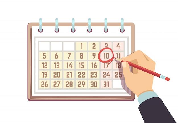 Mano con data di segni di penna nel calendario. scadenza e eventi importanti concetto di vettore Vettore Premium