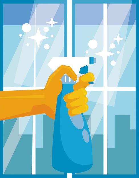 Mano con l'icona di disinfettante bottiglia spray splash Vettore Premium