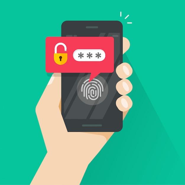Mano con smartphone sbloccato con pulsante di impronte digitali e notifica della password Vettore Premium