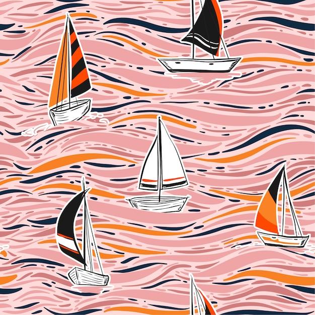 Mano d'avanguardia che disegna modello senza cuciture variopinto della spuma del vento nel vettore sull'illustrazione dell'oceano. illustrazione di onda spiaggia estate Vettore Premium