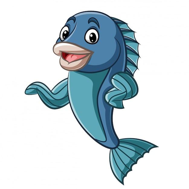 Mano d'ondeggiamento della mascotte dei pesci del fumetto Vettore Premium