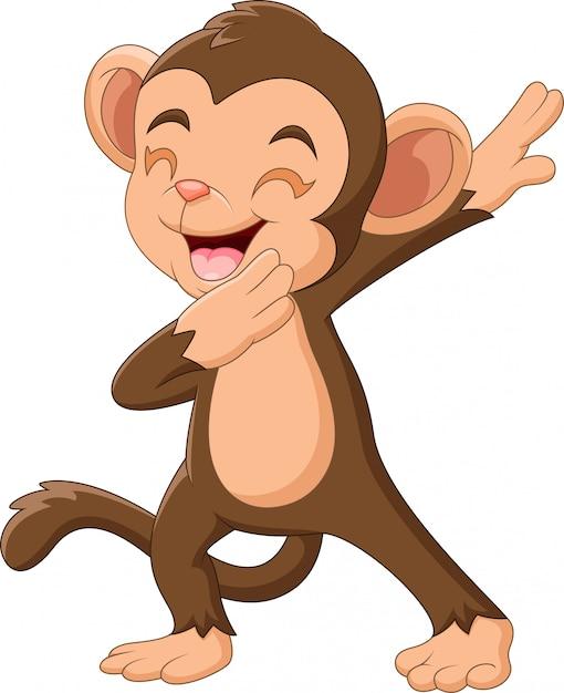Mano d'ondeggiamento della scimmia felice del fumetto Vettore Premium
