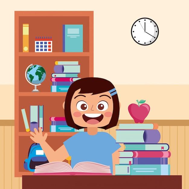 Mano d'ondeggiamento sorridente dello studente felice alla scuola Vettore Premium