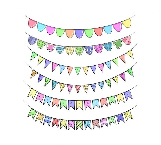 Mano degli insiemi del nastro di compleanno che disegna illustrazione variopinta Vettore Premium