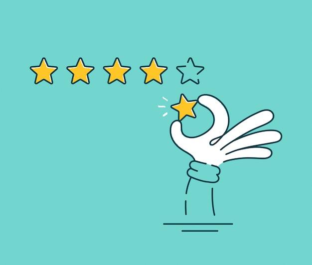 Mano dell'uomo che dà una valutazione di cinque stelle. linea piana icona del carattere dell'illustrazione del fumetto di vettore Vettore Premium