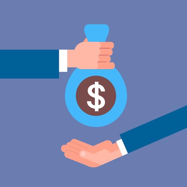 Mano di affari che dà la borsa dei soldi al concetto di pagamento di stipendio, di credito o di prestito dell'uomo d'affari Vettore Premium
