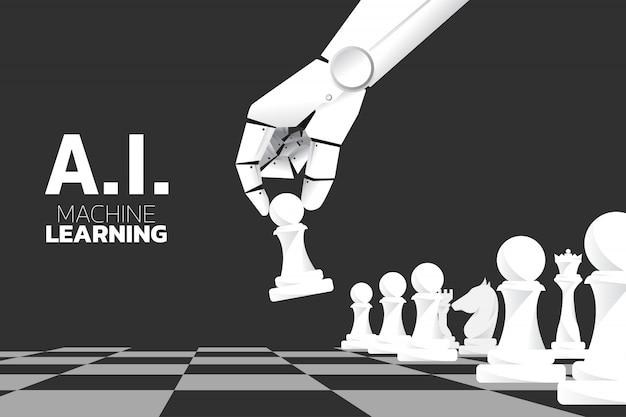 Mano di robot mossa pezzo di scacchi a bordo del gioco. Vettore Premium