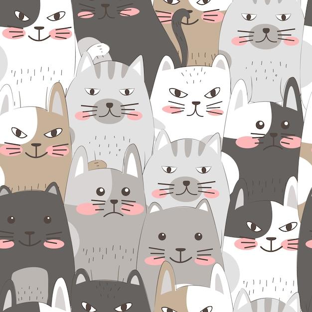 Mano disegnare seamless pattern di gatti Vettore Premium