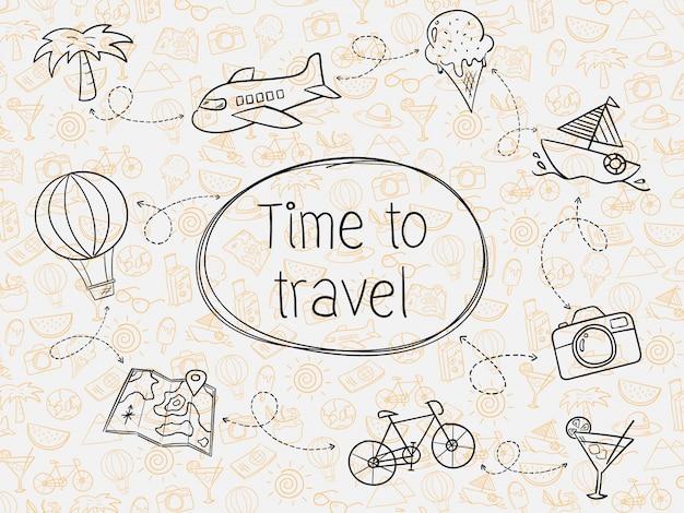 Mano disegnare viaggi estivi senza soluzione di continuità Vettore Premium