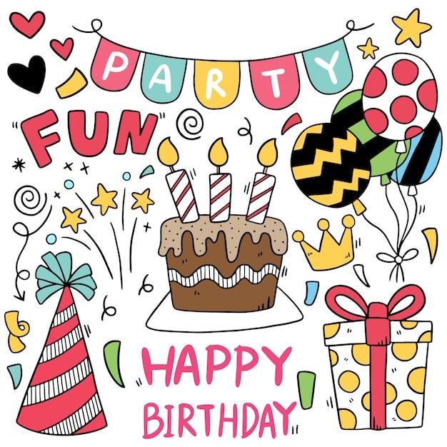 Mano disegnata festa doodle buon compleanno ornamenti motivo di sfondo Vettore Premium