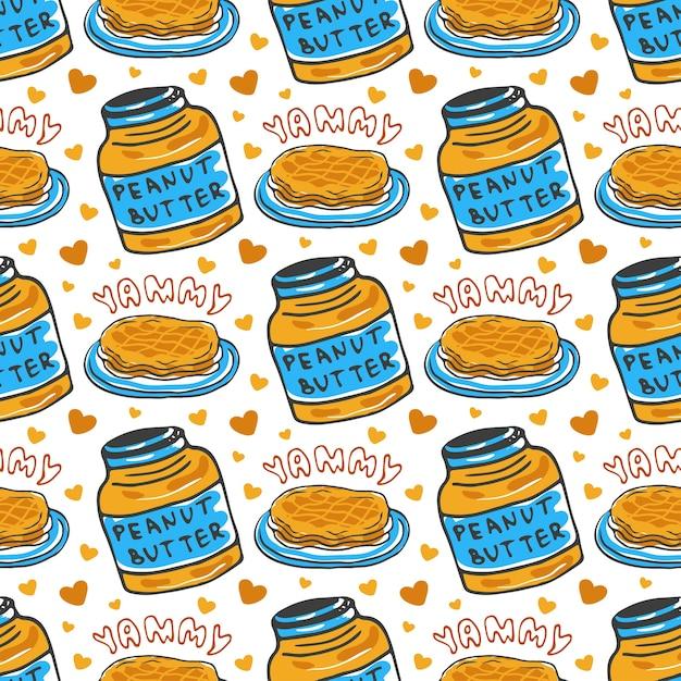 Mano disegnata trama di burro di arachidi senza saldatura. vector sfondo con pancake colazione. per il confezionamento e l'imballaggio del design alimentare. Vettore Premium