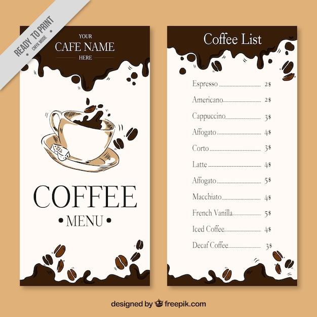 Mano menu del caffè disegnato Vettore gratuito
