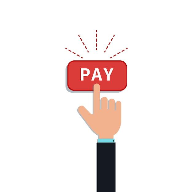 Mano piatta fare clic sul pulsante di pagamento rosso. elemento di design per l'app di pagamento mobile, l'acquisto del cliente Vettore Premium