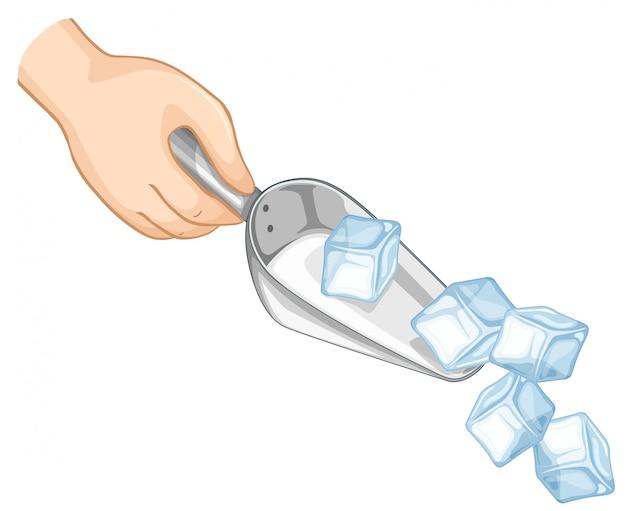 Mano scavare ghiaccio con cucchiaio di metallo Vettore gratuito