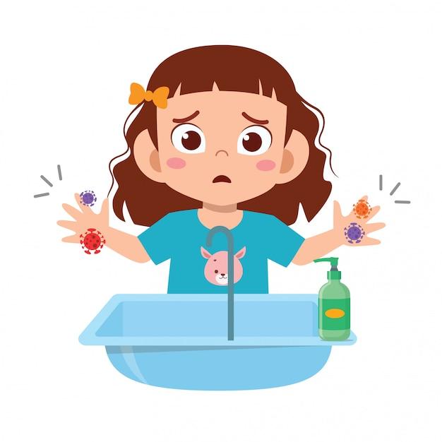 Mano sveglia felice della lavata della ragazza del bambino in lavandino Vettore Premium