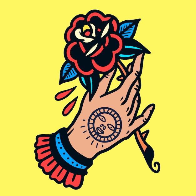 Mano tatuata con rose old school tattoo vector Vettore Premium