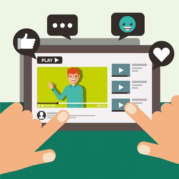 Mano toccando schermo mobile blogger uomo video contenuto virale Vettore Premium