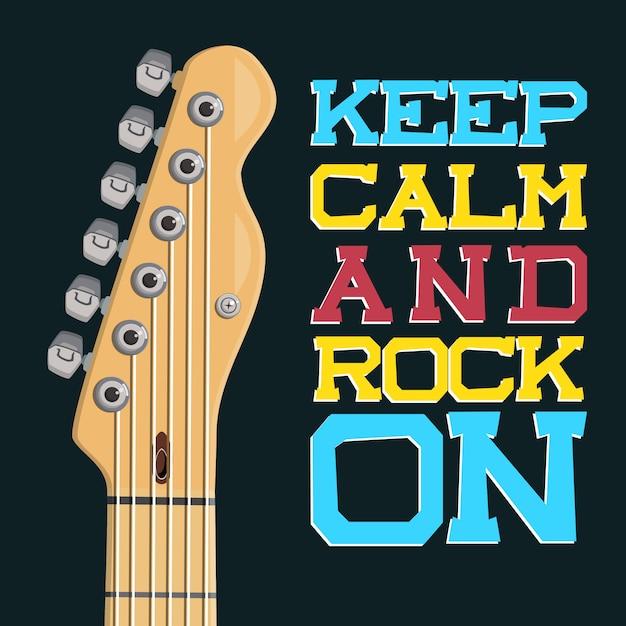 Mantieni la calma e rock Vettore Premium