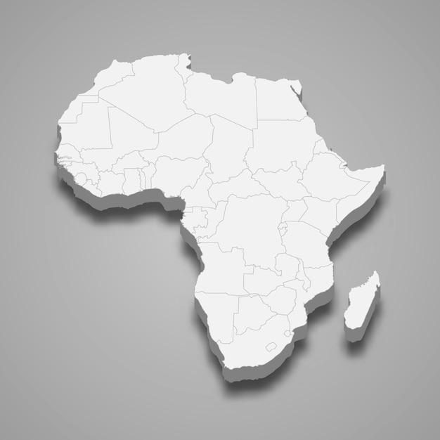 Mappa 3d dell'africa Vettore Premium