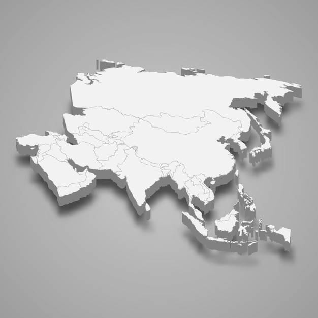 Mappa 3d dell'asia Vettore Premium