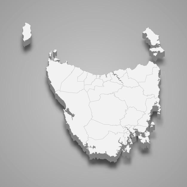 Mappa 3d dello stato dell'australia Vettore Premium