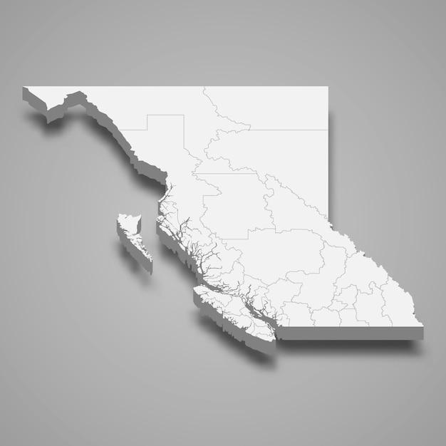 Mappa 3d provincia del canada Vettore Premium