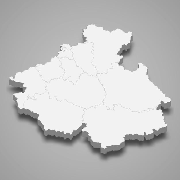 Mappa 3d regione della russia Vettore Premium