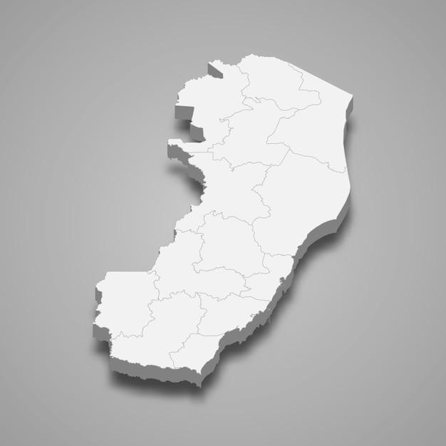 Mappa 3d stato del brasile Vettore Premium