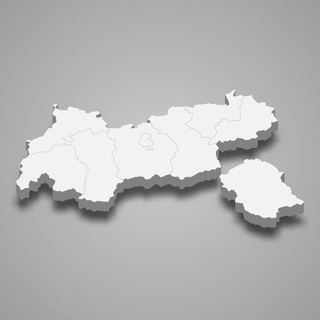 Mappa 3d stato dell'austria Vettore Premium
