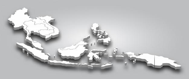Mappa 3d sud-est asiatico con vista prospettica su sfondo sfumato di colore grigio Vettore Premium