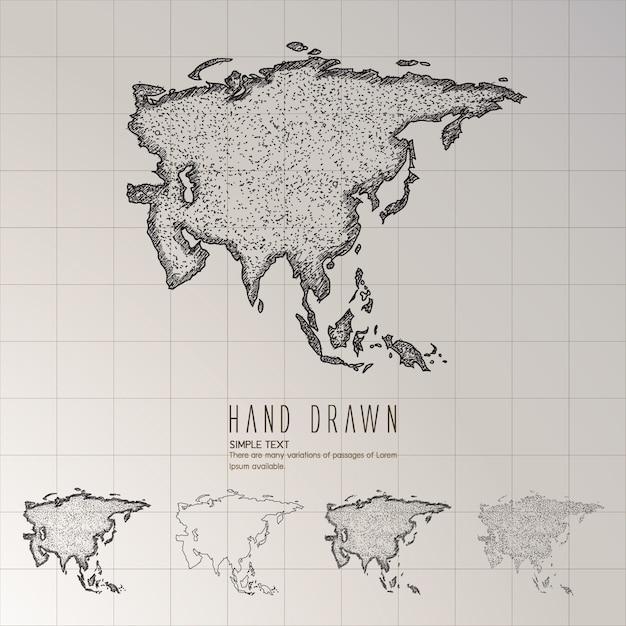 Mappa asia disegnata a mano. Vettore Premium
