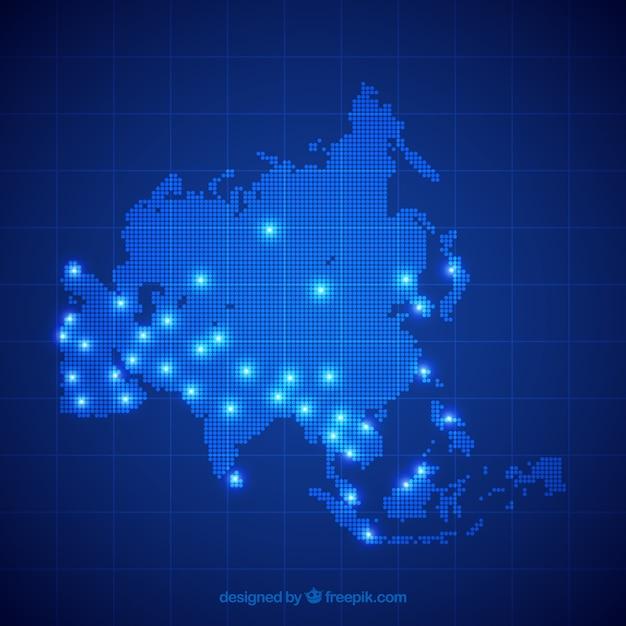 Mappa blu dell'asia con punti Vettore gratuito