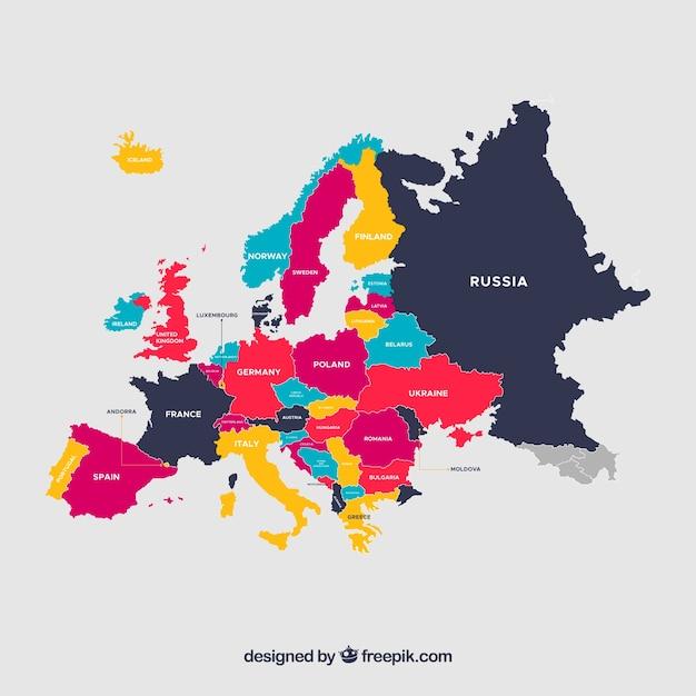 Mappa colorata dell'Europa Vettore gratuito