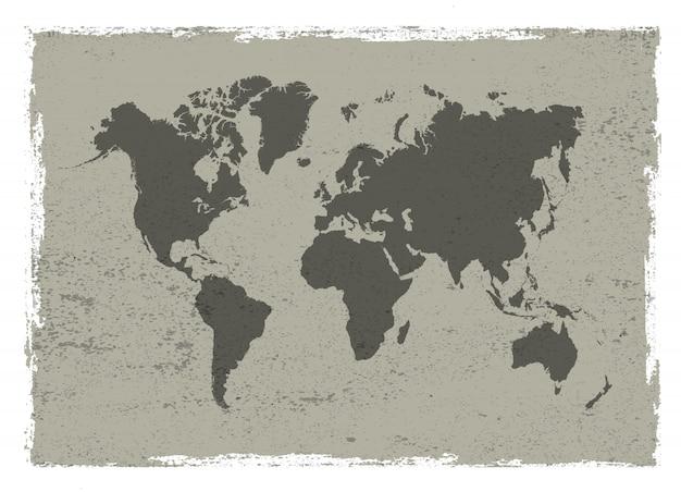 Mappa d'epoca del mondo Vettore Premium