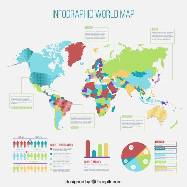 Mappa dei infografica mondo Vettore gratuito
